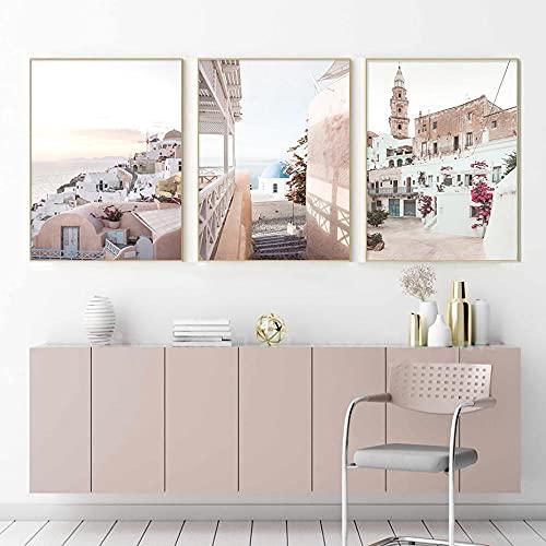 zuomo Cartel de Viaje de Grecia, Arte de Pared de Santorini, Impresiones en Lienzo, Pinturas, imágenes Minimalistas para la Sala de Estar, decoración del hogar, 50x70cmx3pcs, sin Marco