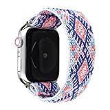 JimBird Stretchy Sport Loop Strap Compatible for Apple Watch Band 42mm 44mm iWatch Series 6/SE/5/4/3/2/1 Stretch Elastics Wristband (Sky, 42/44mm for Large Wrist)