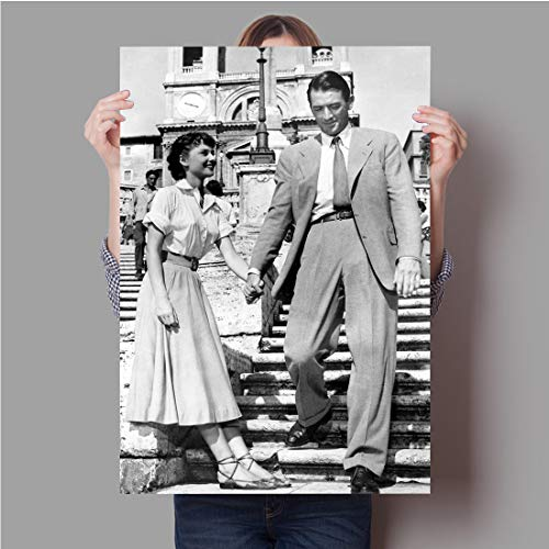 Audrey Hepburn and Gregory Peck poster,Classic romantic comedy movie Roman holiday vintage poster print,Decorative painting poster art print wall art home decoration (24x36inch unframe)