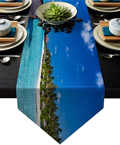 MODORSAN Esstischläufer Holzsteg Malediven Tropical Island Seashore Gazebo Cabana Thema Tischläufer für Küchentisch Kommode, Bauernhaus, rustikal, Hochzeiten, 13 * 90 Zoll