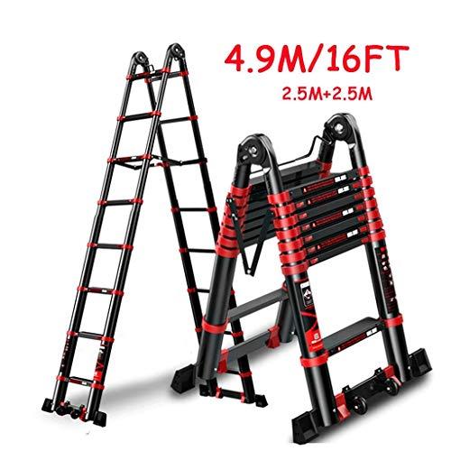 AFDK Einziehbarer Leiter mit Rollen und Stabilizer Bar, Schwarz Aluminium Heavy Duty Schiebeleiter für Treppen/Loft/Dachzelt/Camper, lädt 150Kg.5M + 2,5m