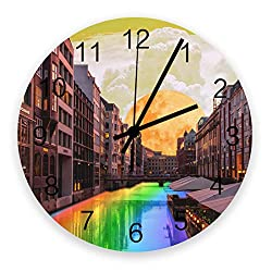 12 Inch Silent Round Wooden Wall Clock Beautiful Landscape of City with Rainbwo River Wall Clock, Non Ticking Battery Operated Quartz Home Decor Wall Clocks for Living Room/Kitchen/Office 12 x 12