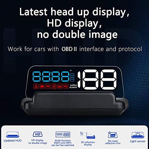 Sunydog Pantalla HUD para automóvil, pantalla frontal, velocímetro de alta definición, herramienta de diagnóstico de automóvil, eliminación de código de falla OBDⅡ, alarma de falla de exceso de veloci