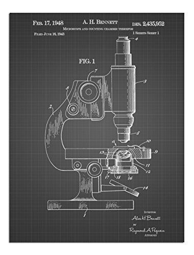 JP London Solvent Free Print PAPXSJSG26 Science Teacher Microscope Vintage Black Grid Poster Patent Art at 8' by 10'