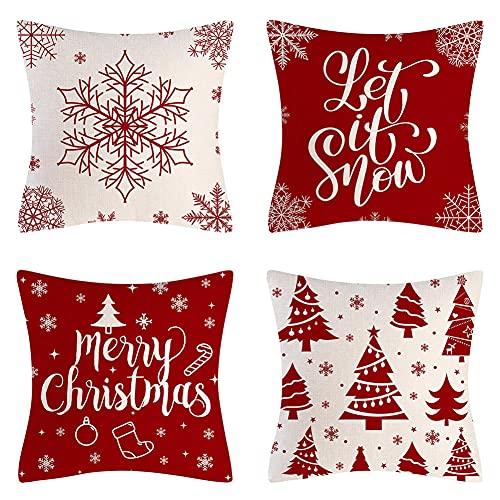 Fundas de Cojines 45X45cm Juego de 4,Navidad Rojo Cojines Sofa,Funda Cojín para Impresión a Doble Cara Terciopelo,Fundas Cojines Decorativas Cuadradas,para Sofá Cama Coche Sillas Decoración