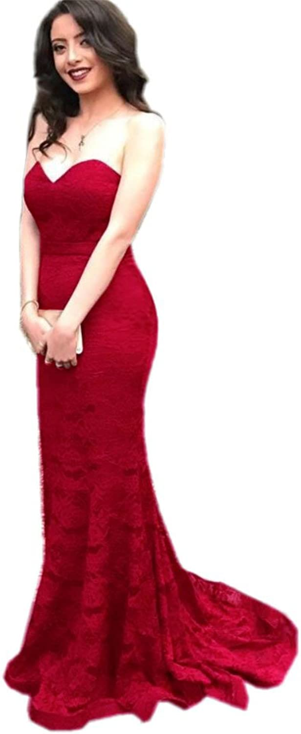 Topashe Women's Strapless Lace Mermaid Evening Dress Formal Party Gown