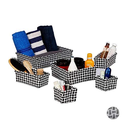 Relaxdays Aufbewahrungskorb 6er Set, Flechtoptik, Deko Körbchen, ineinander stapelbar, Korbset, Kunststoff, weiß/schwarz