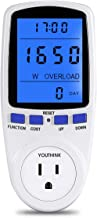 YOUTHINK Electricity Usage Monitor Power Meter Plug Home Energy Watt Volt Amps Wattage KWH Consumption Analyzer with Digital LCD Display Overload Protection