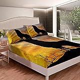 Loussiesd Juego de sábanas Howling Wolf con diseño de animales de safari para niños y adultos, estilo salvaje, funda de cama, funda de cama, 3 unidades, con 2 fundas de almohada de tamaño doble