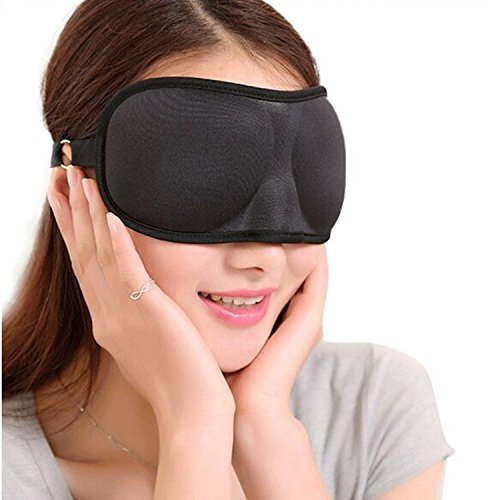 tinxi 3D Maschera Mascherina Occhi Benda per Notte Riposa Sonni--colore Nero