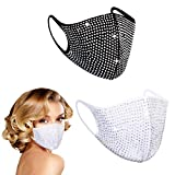Rhinestone Face Reusable Designer Mask, Breathable Washable Cloth Black Pink Adjustable White Dust Fashionable Sparkly Workout Cute Fashion Diamond Lightweight Thin Spandex Adult Vented Women (BLACK)