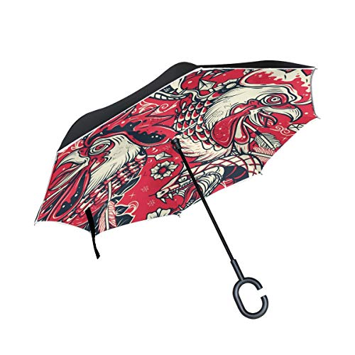 Double Layer Inverted Umbrella Winddichte Regensonnen-Regenschirme mit C-förmigem Griff - Old School Snake und Rooster Head Tattoo