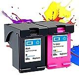 Remanufacturado para los Cartuchos de Tinta HP 60XXL, Trabajo con HP Envy 100/110/111/114/120/111/114/120 / 12,1deskJet F4280 2410 Photo Smart C4780 4480 Impresora Black+Color