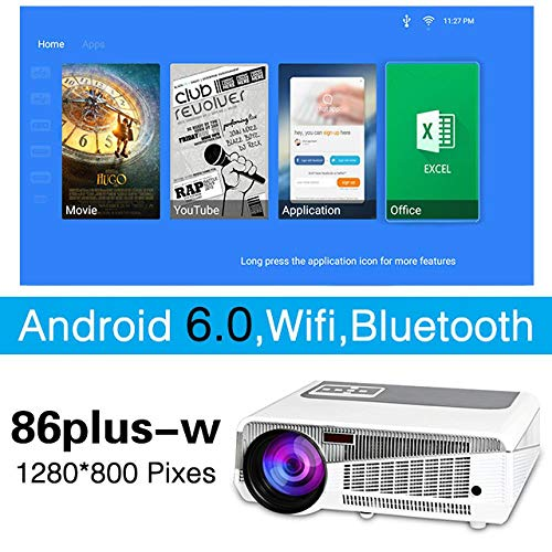 LED 86+ Android Projector for Home Theate Business 4800 Lumens Bluetooth Support FULL HD 1080P VGA HDMI WIFI Beamer|5500 lumens|lcd projector|projector home theater , 86Plus-W