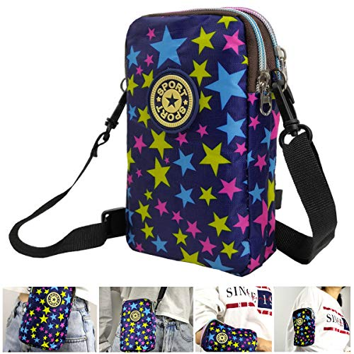 Women Armband Bag Wrist Bag - Small Crossbody Shoulder Bags Purse Pouch Wallet Holder for iPhone 6 6S 7 8 Plus X XR XS 11 12 Max Pro Android Samsung Galaxy Pixel Walking Running Yoga Biking - Starry