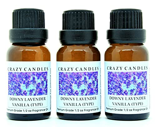 Crazy Candles Downy Lavender Vanilla Type (Made in USA) 3 Bottles 1/2 FL Oz Each (15ml) Premium Grade Scented Fragrance Oil