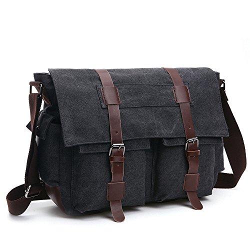 LOSMILE Herren Umhängetasche Schultertasche 16 Zoll Kuriertasche Canvas Laptop Tasche Messenger Bag für Arbeit und Schule. (L, Shwarz)