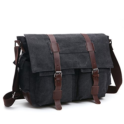 LOSMILE Shoulder Bag, Men's Messenger Bags, 16 Inches Vintage Military Canvas Laptop Bag for Work and School, Multiple Pocket. (Large, Black)
