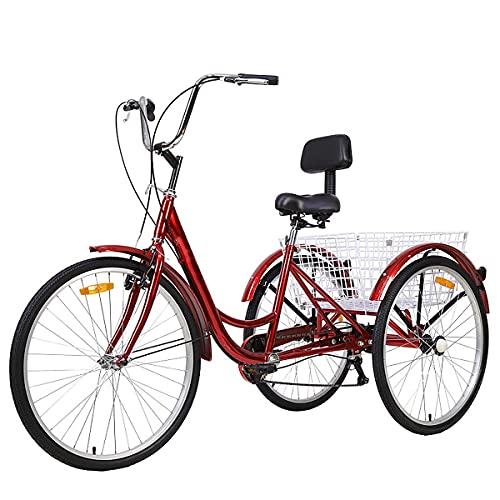CARTEY Erwachsene Dreirad-Fahrrad, Cargo Trike Cruiser Radfahren Dreirad Für Den Außenbereich, Die Oberfläche Ist Glatt Und Schön