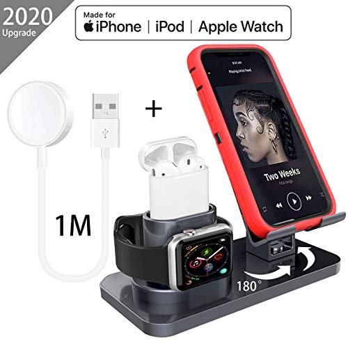 AICase Ständer für Apple Watch Airpods,3 in 1 Handy Halter ipad Airpods Ständer Ladestation mit Kabelkanal Docking Station für iWatch Series 5/4/3/2/1 AirPods iPhone iPad Tablet(Grau+iWatch Ladegerät)