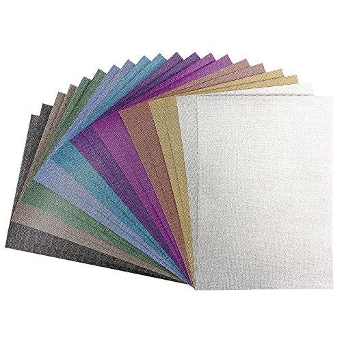 Effekt-Papiere Glitzer-Leinen, DIN A4, 10 verschiedene Farben, 20 Stück