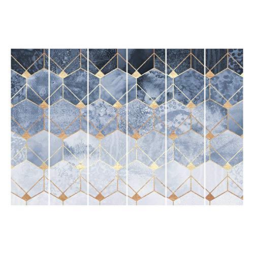 Bilderwelten Cortinas deslizables Set Elisabeth Fredriksson Blue Geometry Golden Art Deco 6 Paneles japoneses 250 x 360cm Sin Montaje
