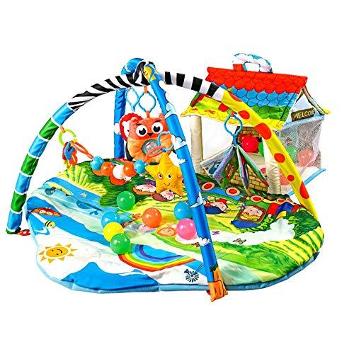 Lionelo Imke 2in1 Spielmatte Baby, Baby Krabbeldecke ab Geburt, Spielzeuge, Haus für 30 Bälle im Set