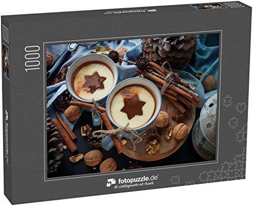 fotopuzzle.de Puzzle 1000 Teile Weihnachten Apfel Tee Gewürze Zimt Nuss Kiefer Kegel Walnuss Tasse Getränkeform Stern