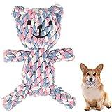 MEKEET Welpe Langeweile Seilspielzeug, Baumwolle Natürliche Zähne Reinigung Kauseil Hunde Ballknoten Trainingsspielzeug Kleines Hundespielzeug (Bär)