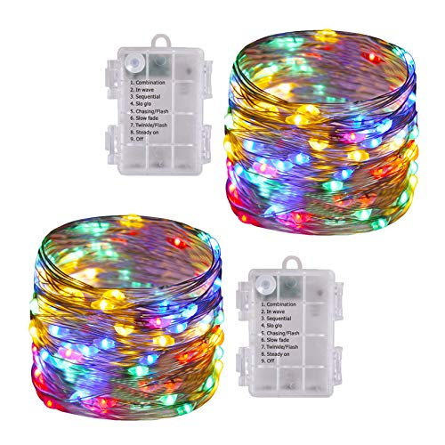 ILLUMINEW 2 Pack 100 LED String Lights, 8 Modes Twinkle Fairy Lights Battery Operated, Indoor/Outdoor Copper Wire Christmas Lights for Bedroom, Wedding, Garden, Party Decoration(Multi-Color)