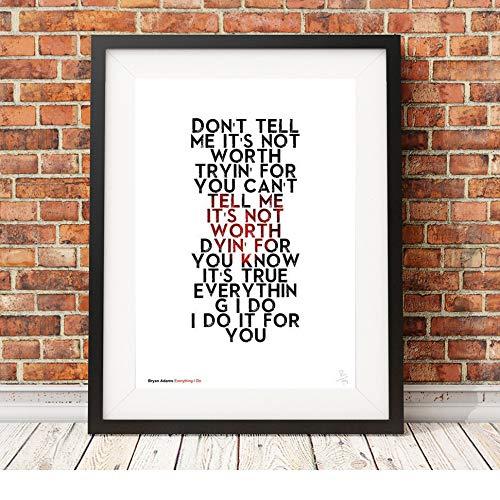 Bryan Adams - Everything I Do - testi delle canzoni - Poster in formato A3 stampa in edizione limitata
