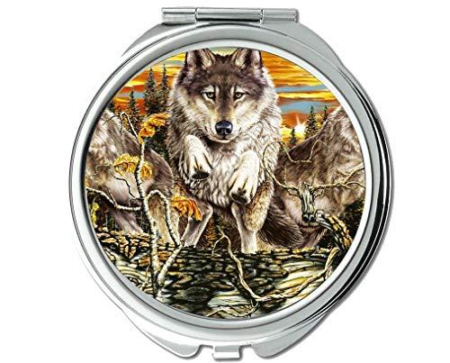 Yanteng Spiegel, Schminkspiegel, Animal Wolf Box Taschenspiegel, 1 X 2X Vergrößerung
