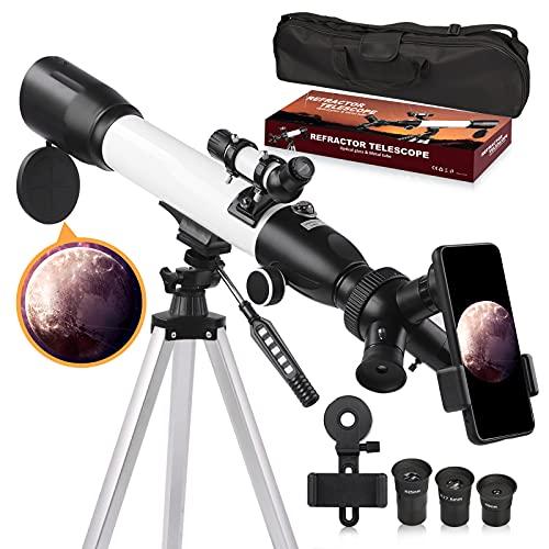 Telescopio, telescopio de astronomía para adultos, apertura de 60 mm, 500 mm, telescopio refractario astronómico para niños principiantes con trípode ajustable, adaptador de teléfono, bolsa de nailon