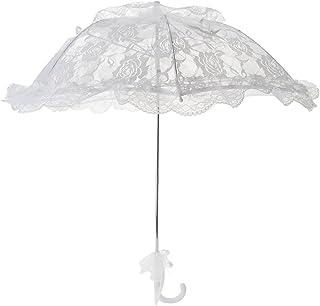 TOPTIE白いレースの大人の傘の長いハンドルの王女の傘 結婚式の射撃の棒の日傘 - レース