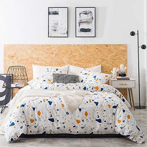 SUSYBAO 3 Pieces Duvet Cover Set 100% Cotton Queen Size Multi-colored Marble Bedding Set 1 Stones Geometric Print Duvet Cover with Zipper Ties 2 Pillowcases Luxury Quality Soft Comfortable Lightweight