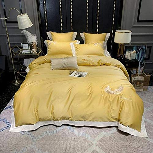 TYDH Birds Feathers Embroidery 100% Egyptian Cotton Bed sheet set Duvet Cover Bedding Luxury White Gray Queen King size 4/6Pieces Color 6 Flat Bed Sheet Queen size 6pieces