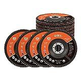 Amazon Brand – Umi 10PC Discos Abrasivo Disco de Láminas Disco para Amoladoras Angulares ø 125 mm, Muilti granos 40,60,80,120, para Acero Inoxidable, Metal/Acero y Madera