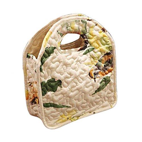 Sac fourre-tout à lunch Sac à lunch réutilisable en coton à oiseaux et fleurs Sac à main ouvert