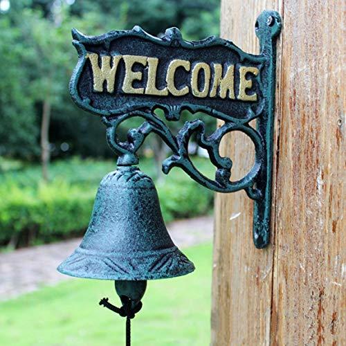KLEDDP Schmiedeeiserne Tür fertigt beidseitig hängende Türklingel und Glocke in der nordischen ländlichen Hofdekoration 18x10x21cm Türklingel