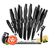 Knife Set with Block,18 Piece Stainless Steel Kitchen Knives Set, Sharp Cutlery Knife Sets Contain 8-Piece Steak Knives, Sharpener, Peeler, Clear Acrylic Stand,Dishwasher Safe, Best Gift,Black