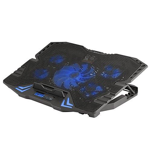 NGS GCX-400 - Soporte Ventilador para Ordenador Portátil Gaming, Base Refrigeradora para PC con 5 Ventiladores, Pantalla LCD y Luces LED
