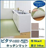 おくだけ吸着 キッチンマット 巾90×長さ240cm ■3種類の内「BR(ブラウン)・KH-87」を1点のみです