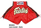 Bangplee_Sport Fairtex Boxing Shorts BS0602 Lace model - Satin Red Color for...