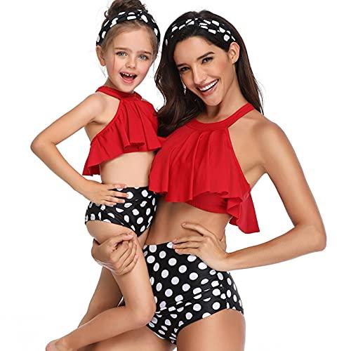 N\C Traje de baño de Verano Traje de baño a Juego con la Familia Traje de baño Camisola para Madre e Hija Bikini de Playa para Mujer Ropa para Padres e Hijos 3-12 años