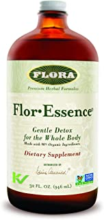 Flor Essence Detox Liquid Tea 32 Oz LARGE - Gentle Daily Herbal Cleanse - All Natural 90% Organic Ingredients - by Flora