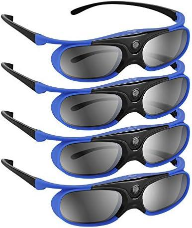 BOBLOV DLP Link 3D Glasses 4Pack 144Hz Rechargeable 3D Active Shutter Glasses for All 3D DLP product image