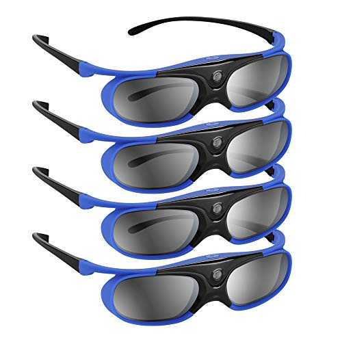 BOBLOV DLP Link 3D Glasses 4 Pack, 144Hz Rechargeable 3D Active Shutter Glasses for All 3D DLP Projectors, Compatible with Optoma, Samsung, BenQ, Dell, Mitsubishi, Acer, Vivitek, NEC, Sharp (Blue)