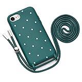 QULT Funda con Cuerda Compatible con iPhone 6 /6s Plus, iPhone 7/8 Plus Carcasa de movil con Colgante Cadena Suave Silicona Necklace Bumper Verde Oscuro Motivo Puntos Blancos