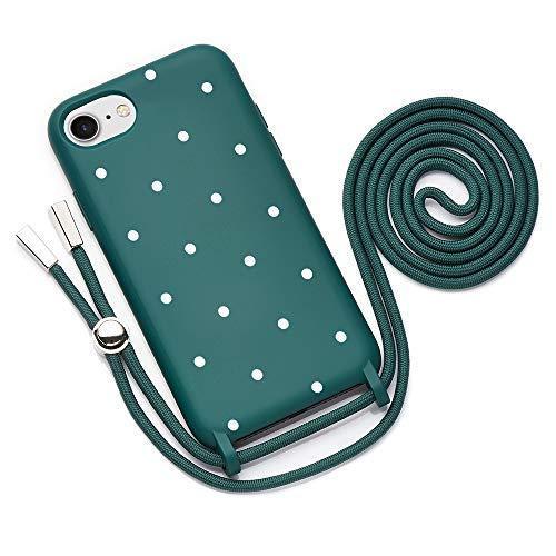 QULT Funda con Cuerda Compatible con iPhone SE 2020, 7/8 Carcasa de movil con Colgante Cadena Suave Silicona Necklace Bumper Verde Oscuro Motivo Puntos Blancos