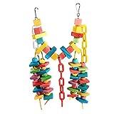 Yosoo Multi-Color 14cmx14.3cm Wooden Bird Swings Budgie Toys Bird Swings Hammock for Parakeets Budgie (2#)